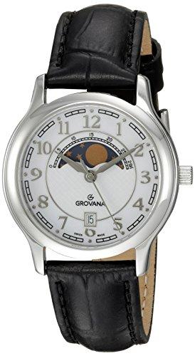 Grovana Unisex 3026-1533 Moonphase Analog Display Swiss Quartz Black Watch