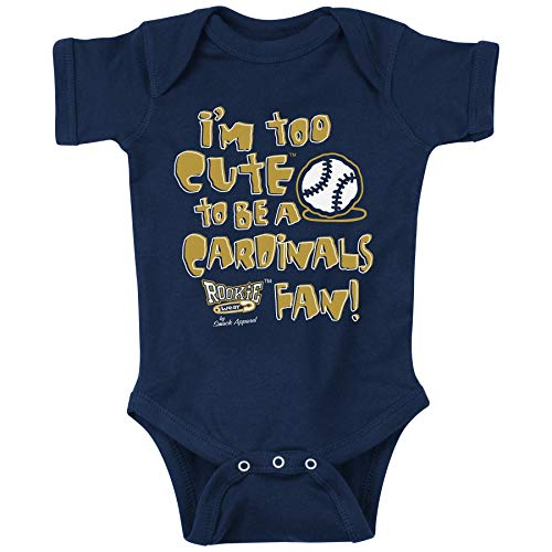 (Rookie Wear by Smack Apparel Milwaukee Baseball Fans. Too Cute to be a Cardinals Fan Navy Onesie (NB-4T) (12 Month))