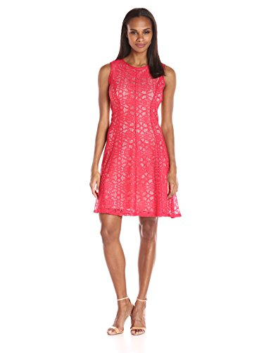 Tiana B Women's Crochet Lace Dress with High Neck and Con...