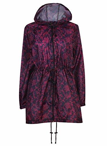 JBC S Printed Raincoat Waterproof Kagoul Dark 5XL Jacket Purple Size Long Ladies To Hooded rpxFr6