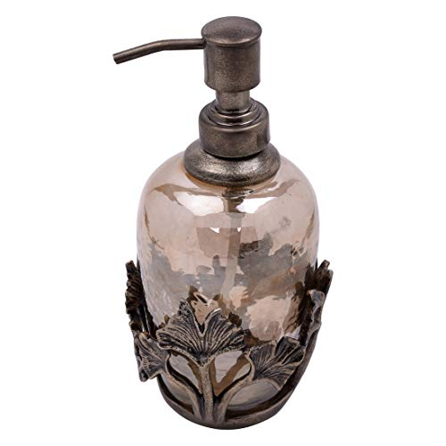Decozen The Gingko Collection Glass Soap Dispenser in Brown Luster Finish Antique Brass Finished Base and Gingko Leaf Elements for Oil Lotions Liquid Soaps Vintage Soap Dispenser ()
