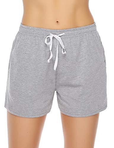 (Aibrou Sleeping Shorts for Women Summer PJ Short with Pockets Cotton Pajama Shorts Gray)