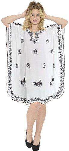 La Leela blanc concepteur, plus la taille robe caftan caftan nuit plage couvrir