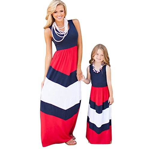 Family Matching Mother and Daughter Printed Clothes Outfits Sleeveless Long Dress Blue Red White-140XL(9/10) T-9/10T