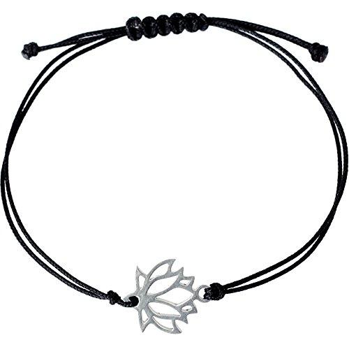 (Stainless Steel Dainty Lotus Bracelet, Lotus Flower Yoga Charm on a Black String)