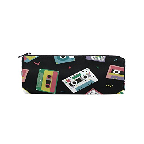 WOZO Retro Audio Tapes 80S Pen Pencil Case Makeup Cosmetic Pouch Case Travel Bag -