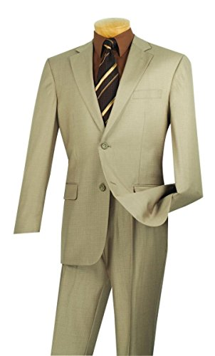 Wool 2 Button Single (Vinci 2 Button Single Breasted Classic Fit Textured Weave Suit 2LK-1-Beige-50XL)
