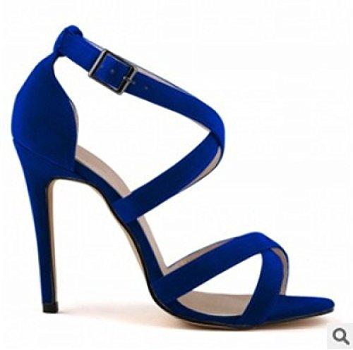 GRRONG Sandalias De La Mujer Sandalias Finas Con Punta Abierta Blue