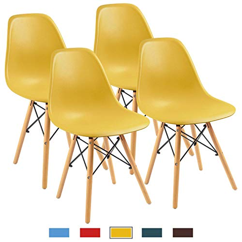 Furmax Pre Assembled Modern Style Dining Chair Mid Century Modern DSW Chair, Shell Lounge Plastic Chair for Kitchen, Dining, Bedroom, Living Room Side Chairs Set of 4(Yellow) (Yellow Accent Chair)
