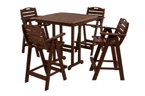 (POLYWOOD PWS144-1-MA Nautical 5-Piece Bar Set with Table and Chair, Mahogany)