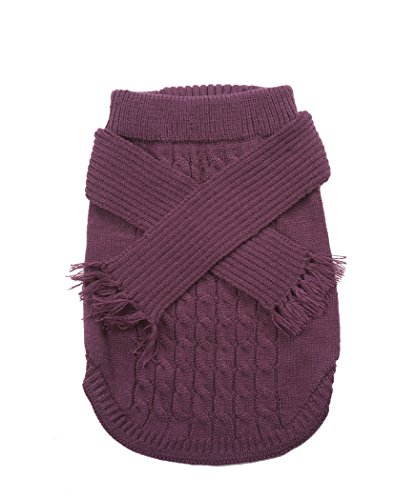 Fashion Pet Outdoor Dog Scarf Sweater, X-Small, Plum (Fashion Plum Pet)