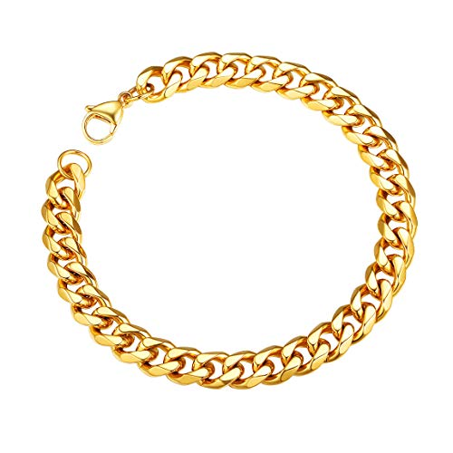 Mens Gold Bracelet Cuban Link Chain Bracelet 18k Gold Plated Bangle for Women