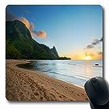 Ahawoso Mousepads for Computers Tropical Bali Hai Kauai Nature Beach Parks Tunnels Hawaii Island Sand Sunset Design Oblong Shape 7.9 x 9.5 Inches Non-Slip Oblong Gaming Mouse Pad