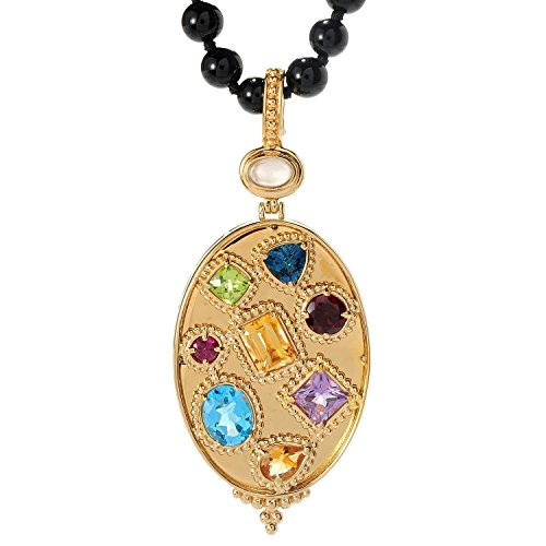 - Michael Valitutti Palladium Silver Etruscan Collection Multi Gem Pendant with Onyx Bead Necklace