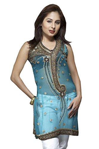 Women Bluish Cyan Synthetic Fabric Tunic Top (xl) by Jayayamala