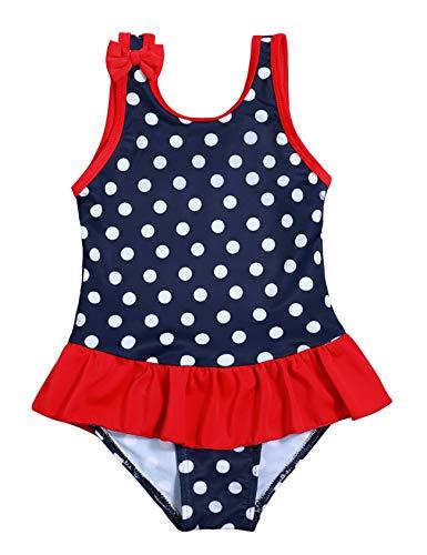 Baby Girl Bathing Suit Cute Polka Dot Bow Ruffle One-Piece Swimwear Rash Guard Infant Swimsuit(12-18m/90) Navy Blue