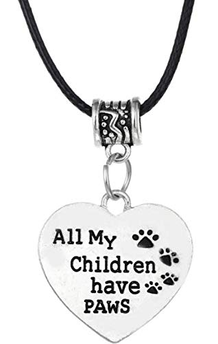 "All My Children Have Paws"" Heart Pendant Necklace Animal Pet Rescue Dog Lovers Jewelry Charm Gift - Shipped from USA from Collectibles"