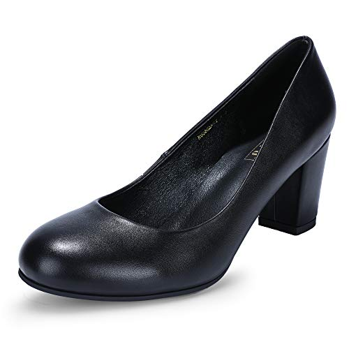 IDIFU Women's RO3 Sherry Classic Closed Round Toe Medium Chunky Block Heels Wedding Dress Office Pumps Shoes (7.5 M US, Black ()