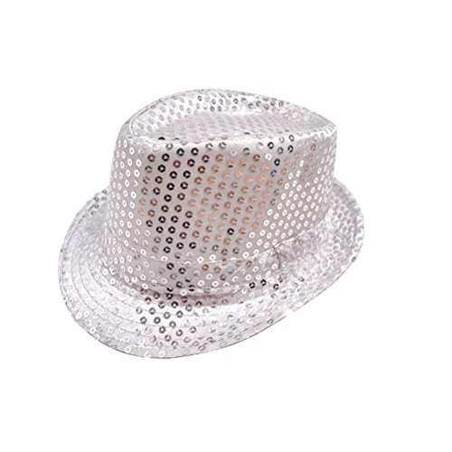 Tinksky Universal Sequins Fedora Hat for Kids Children Party Showing Stage Party Favors (Silver) -
