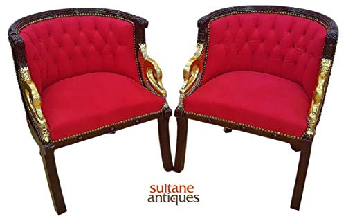Sultaneantiques - Pair Luxurious Louis XV Armchair with Gilded Arms ()