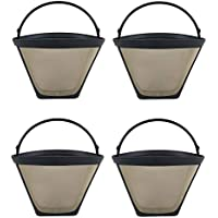 Think Crucial 4 Replacements for Coffee Filter # 4 Cone Fits Black & Decker, Braun, Cuisinart, Hamilton Beach, Krups, Mr. Coffee, Norelco, Proctor Silex, Sunbeam & West Bend, Washable & Reusable
