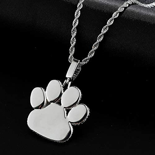TUDUDU Iced Out Cubic Zircon Cz Bear Scratch Solid Back Necklaces &Pendants for Men Jewelry with Length Chain 60Cm