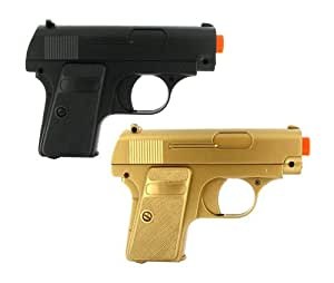 BBTac Airsoft Pistol Guns Twin Pack Spring Pocket Handgun with Storage Case (Gold & Black)