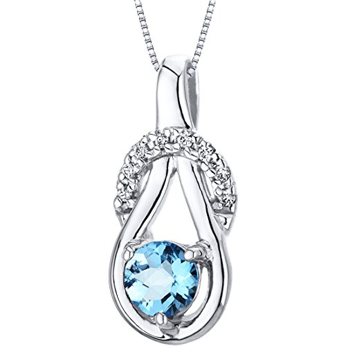 Swiss Blue Topaz Pendant Necklace Sterling Silver Checkerboard Cut 0.50 (Blue Topaz Birthstone Charm)