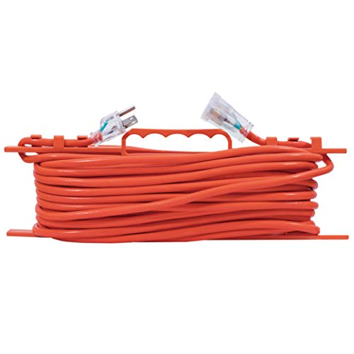 Extension Heavy Duty Vinyl Cord (KMC 16 AWG Power Outdoor Extension Cord with Winding Cord Shelf - 16/3, Heavy Duty 3 Prong Bright Orange Extension Cord - 25 Feet)