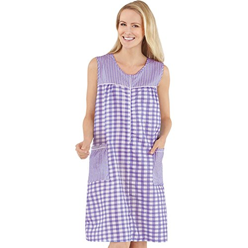 Womens Half-Zip Front Sleeveless Pocket Dress with Checkered Pattern Design, Comfortable Loungewear for Around The House