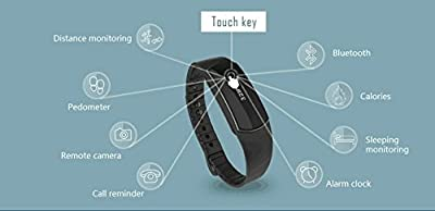 KASSICA Bluetooth Waterproof Smart Wrist Band Sports Outdoor Fitness Tracker Sleep Monitor Call Coming/ EMS Reminder Smart Bracelet Smartwatch Compatible With IOS 7.0+ and Android 4.3 or Above