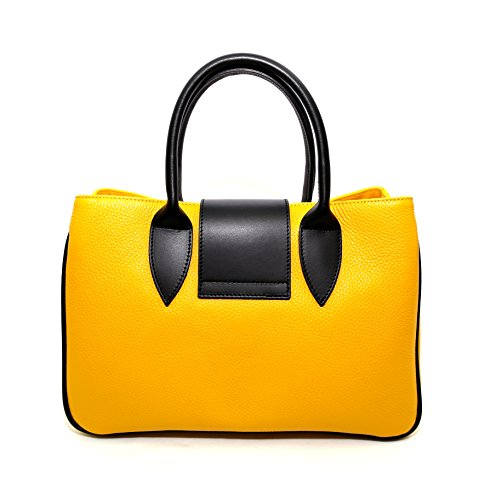 Blue Woman Navy Arno CREEO Navy Made Leather genuine Italy Yellow Bag Blue in BBqrRP