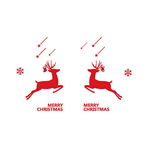 Mysky New Year Merry Christmas Elk Wall Sticker