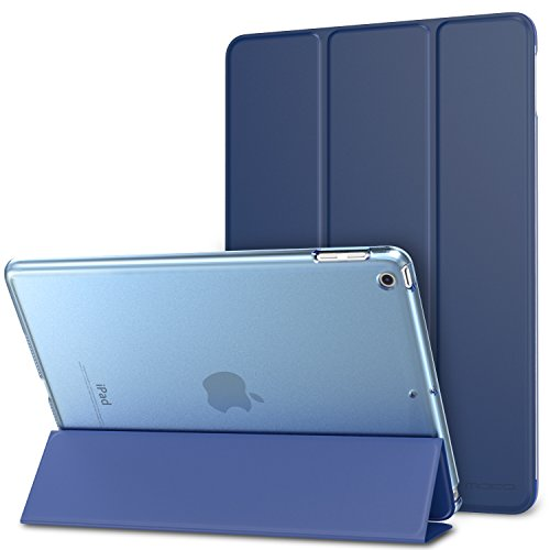 MoKo Case Fit 2018/2017 iPad 9.7 6th/5th Generation - Slim Lightweight Smart Shell Stand Cover with Translucent Frosted Back Protector Fit Apple iPad 9.7 Inch 2018/2017, Navy BLUE(Auto Wake/Sleep) Clear Front Translucent Portfolios
