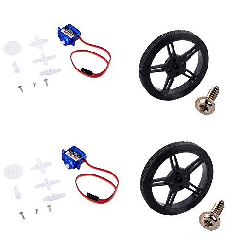 (Feetech FS90R Micro Servo, 360 Degree Continuous Rotation Mini RC Servo Motor with Wheel 6V 1.5KG for Arduino RC Car Robot (2 Pack))