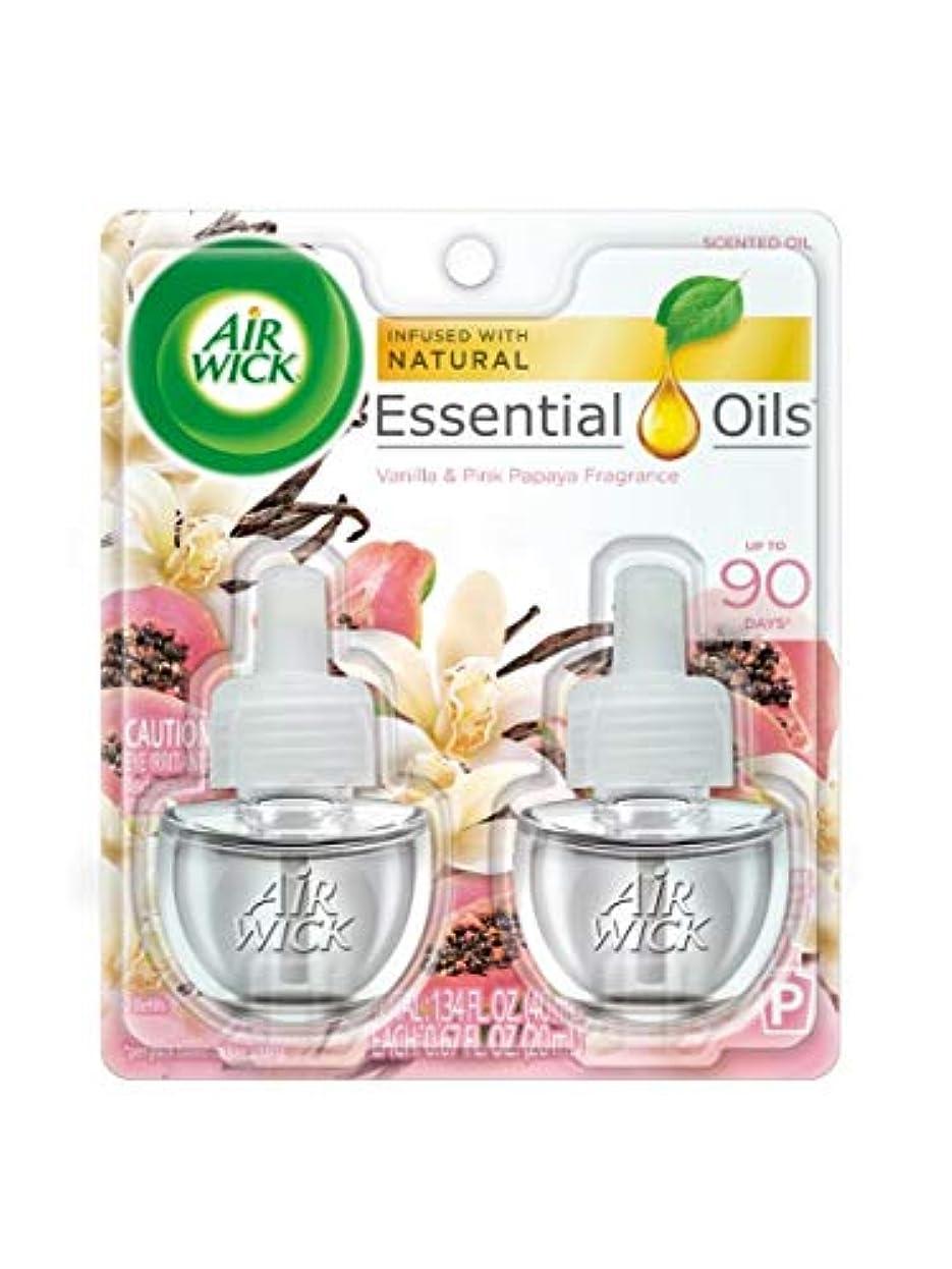 専門聴く勇者【Air Wick/エアーウィック】 プラグインオイル詰替えリフィル(2個入り) バニラ&ピンクパパイヤ Air Wick Scented Oil Twin Refill Vanilla & Pink Papaya (2X.67) Oz. [並行輸入品]