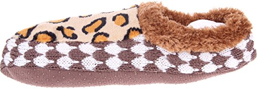 Enimay Dames Cheetah One Size Fits All Comfortabele Antislip Onderkant Slipper Sokken Tan