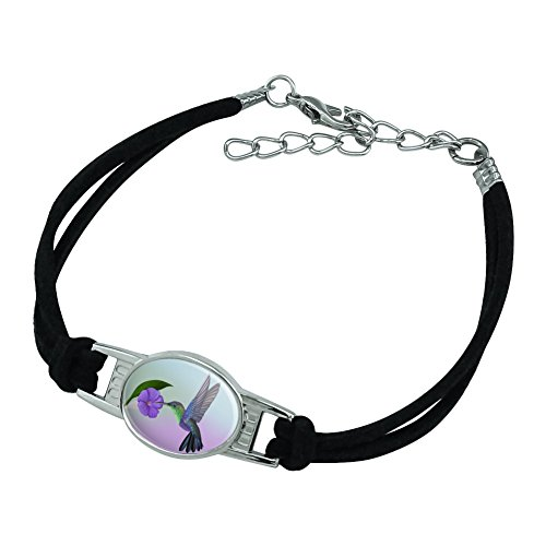 Hummingbird Crowned Woodnymph Purple Violet Novelty Suede Leather Metal Bracelet - Black - Violet Womens Bracelets