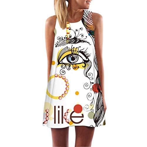 (Lovor Tank Dress for Women Boho 3D Floral Print Crewneck Sleeveless A-Line Mini Dresses(White,S)