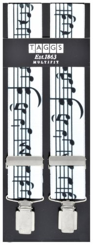 New Pair of Musical Notes Pattern Braces in Black White 35mm Gift Boxed (Made in England)