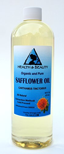 Safflower Oil Organic Carrier High Oleic Cold Pressed Premium 100% Pure 16 oz