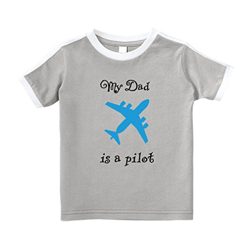 Cute Rascals My Dad is A Pilot Cotton Short Sleeve Crewneck Unisex Toddler T-Shirt Soccer Tee - Oxford Gray, 4T - Oxford Pilot Shirts