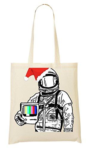 Astronaut Santa Television Bolso De Mano Bolsa De La Compra