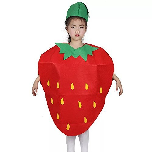 Strawberry Costume For Kids (Kids Fruits Vegetables and Nature Costumes Suits Outfits Fancy Dress Party Boys and Girls)