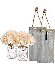Yooda 2 Pack Mason Jar Sconces for Wall Decor with LED Fairy Lights, Decorative Chic Hanging House Decor Mason Jars, Silk Hydrangea, 6-Hour Timer, Home Decor (Grey)
