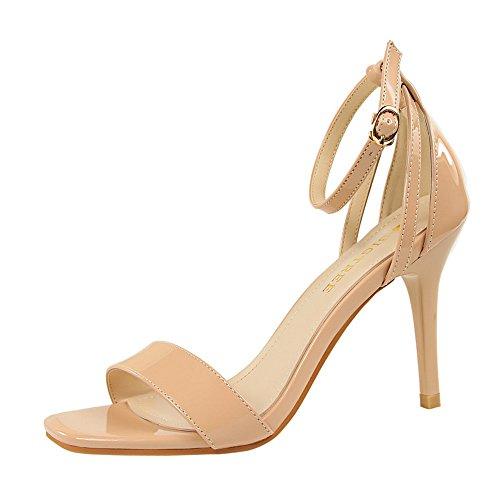 z&dw Moda simple y delgado tacones altos una palabra con sandalias profesionales ol desnudo