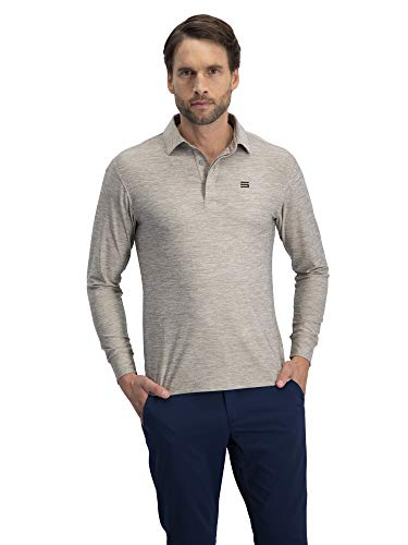 (Men's Dry Fit Long Sleeve Polo Golf Shirt, Moisture Wicking and 4 Way Stretch)