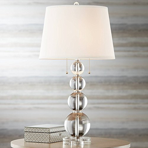 Modern Table Lamp Stacked Crystal Spheres White Drum Shade for Living Room Family Bedroom Bedside Nightstand – Vienna Full Spectrum