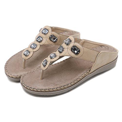 Ruiren Women Bohemian Rhinestone Flat Sandals,Summer Flip-Flops Shoes for Ladies apricot