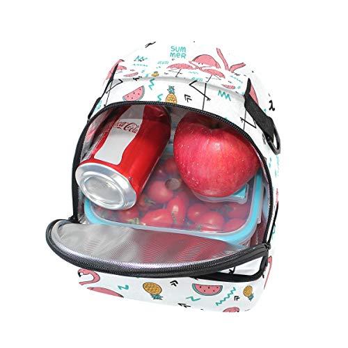 à Tropical l'école Flamingo à Boîte Tote avec Cooler Pincnic isotherme réglable lunch pour Folpply Sac Impression bandoulière TIwq5xdaI4